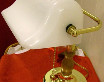 Vintage Bankers Desk Lamp, Library Lamp, Student's Lamp ~ WHITE Glass Duckbill Shade ~ New In Box