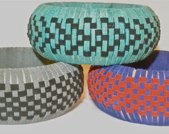 Suede Bangle Woven in a Checkerboard Pattern