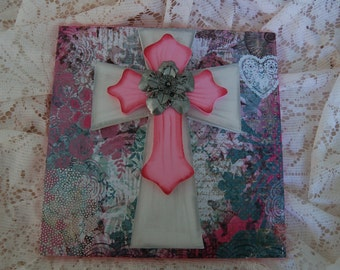 Pretty in Pink Layered Cross, Delicate Lacey, Silver Metal Flower in Center(142K)