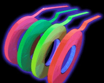 """1/4"""" Gaffers Hula Hoop Grip Tape -  All colors and UV neons to choose from!   UV Reactive glow with Black Light"""