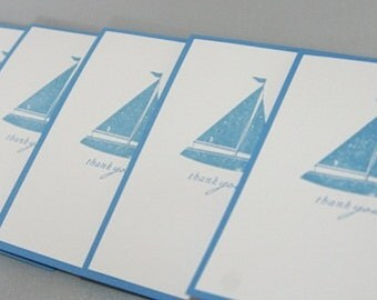 Blue Sailboat Thank You Hand Stamped Note Card Set of Ten, Sailboat Thanks Greeting Card Set, Nautical Stationery