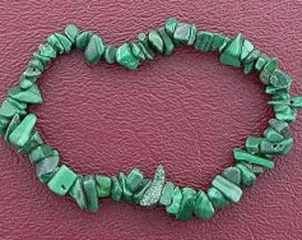 Malachite chip beads stretch bracelet