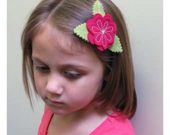 Red Peony Barrette for LIttle Girls