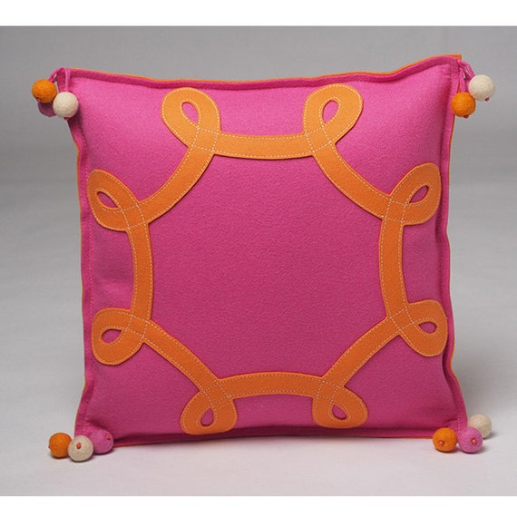 orange and hot pink swirl throw pillow in wool felt with. Black Bedroom Furniture Sets. Home Design Ideas