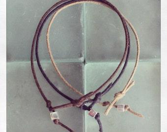 Bracelet Simple 01 Sterling .925 Cotton Handmade (B401SS-C)