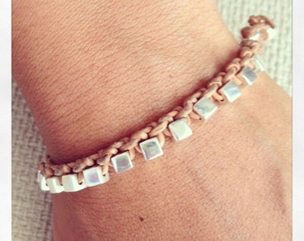 Bracelet Colo 21 Sterling Silver .925 Leather Handmade - Natural (B121SS-LNT)