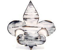 Fleur De Lis in Cream Pine Wood Sign Wall Decor Rustic Americana French Country Chic Photo Prop