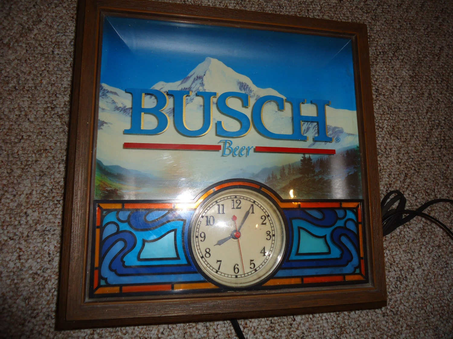Vintage Busch Beer Clock Light 1987 Retro Bar By