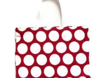 "Red Tote Bag, Shoulder Bag, Red  Polka Beach Bag, Red Polka Tote, Red Dots Bag- 17"" x 13"""