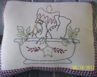 Bowl of snow Snowman Handstitched & Handmade Primitive Rustic Pillow