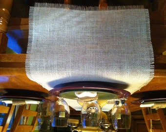 """White Ivory Cream Burlap Table Runner  12"""" or 14"""" wide w/ragged ends/sides"""
