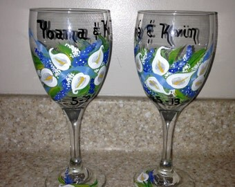 Hand painted wine glasses for bride and groom. Toasting glasses. Wedding glasses