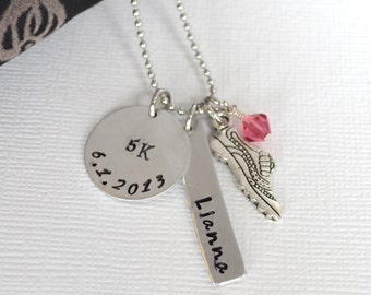 Personalized Hand-Stamped 5K Personalized Necklace- Personalized Runner's Necklace- Marathon Necklace