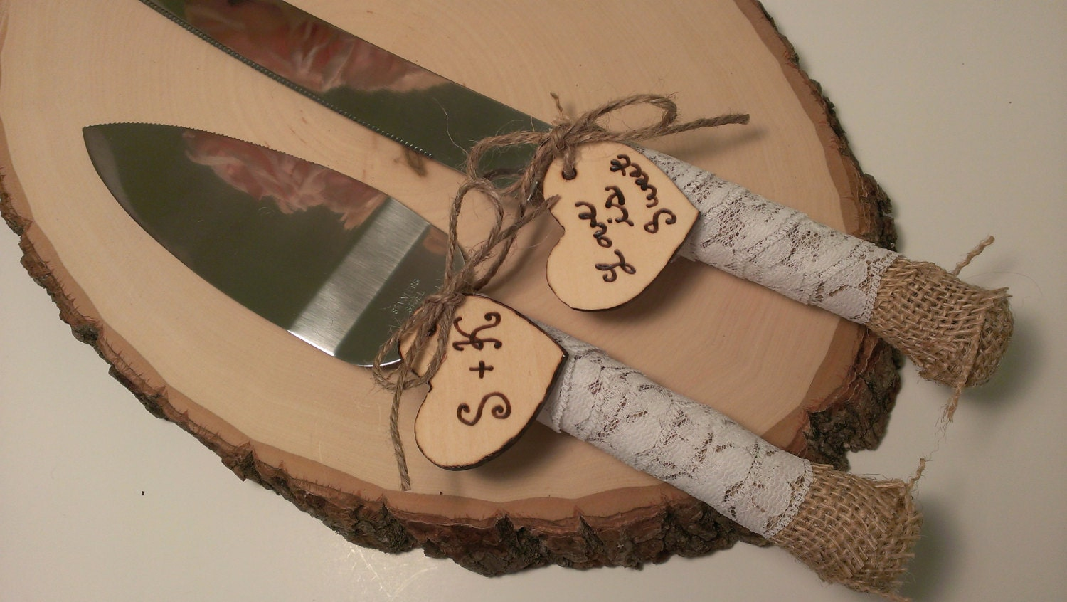rustic wedding cake knife customized burlap by redheartcreations. Black Bedroom Furniture Sets. Home Design Ideas