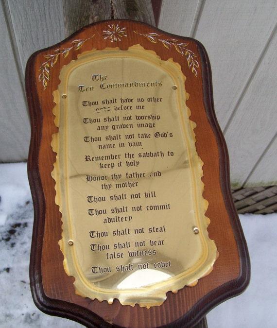Vintage Ten Commandments Wood Metal Plated By