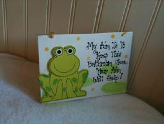Frog Froggy Bathroom sign My aim is to keep this by JakeandMaine