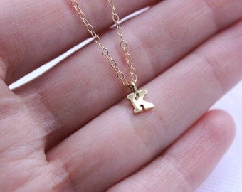 Tiny Gold Letter Charm Necklace NEW