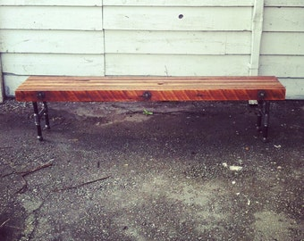 Reclaimed Wood Bench with Industrial Cast Iron Legs