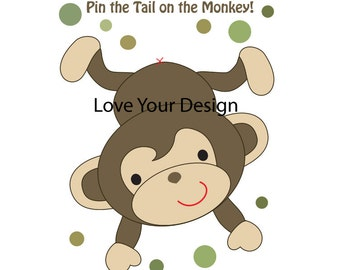 Pin the Tail on the Monkey Game INSTANT DOWNLOAD Green Dots OR Yellow Dots printable digital jpeg files