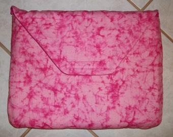 "Padded Laptop Sleeve.Pink Tyedye Print. Fits laptops up to 10"" X 13"""