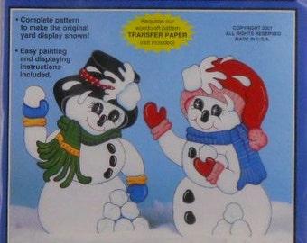 Snowman Snowball Fight Woodcraft Pattern