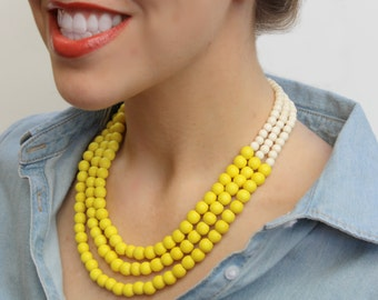 yellow necklace / yellow beaded necklace / yellow and white necklace / yellow bridesmaid necklace / wood bead necklace / 3 strand necklace