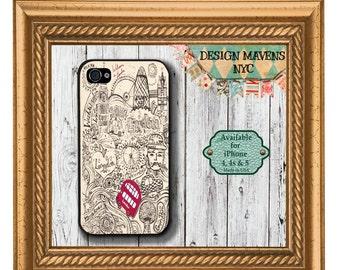 London Doodle iPhone Case, England iPhone Case, British iPhone Case, iPhone 4, 4s, iPhone 5, 5c, iPhone 6, 6s, 6 Plus, SE, iPhone 7, 7 Plus