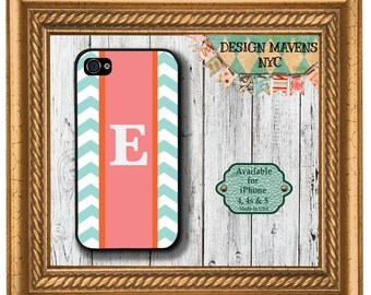 Personalized iPhone Case, Monogrammed Chevron iPhone Case, Fits iPhone 4, iPhone 4s & iPhone 5, Phone Cover, Phone Case