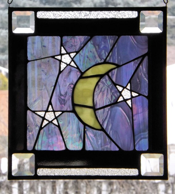 Stained Glass Panel Iridescent Night Sky Moon Stars Panel Suncatcher Original Design