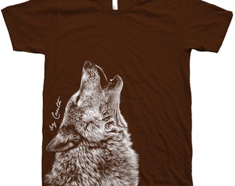 Screen Printed Shirt WOLF American Apparel Crew Neck Water Base Ink Available: S,M,L, Xl,Xxl 11 Color  Available