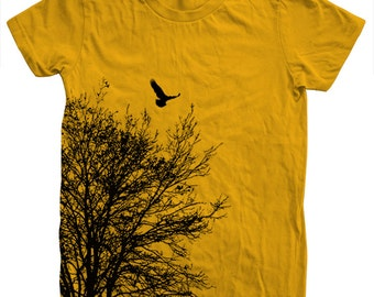Tree T shirt Women Crew Neck Hand Screen Print American Apparel Available S, M , L, Xl 13 Color Options