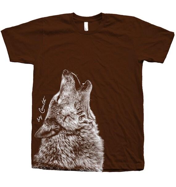screen printed shirt wolf american apparel crew neck water