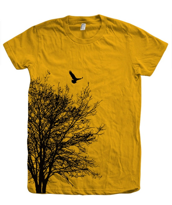 Tree t shirt women crew neck hand screen print american for Screen print on t shirts