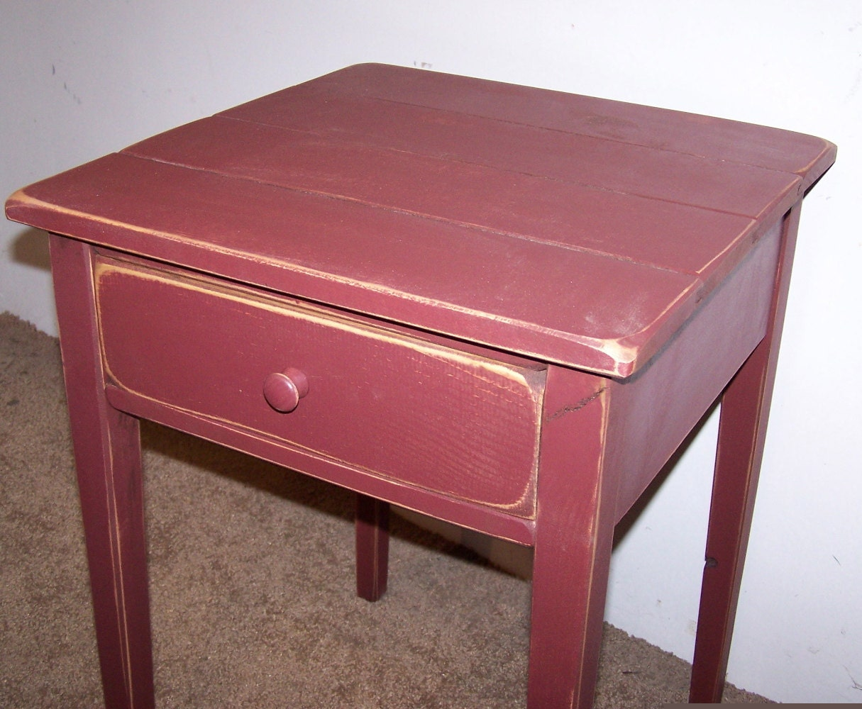 Distressed Shaker End Table With Drawer Rustic Cottage Style