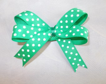 "3"" green with white polka dots, st. patrick's day hair bow with alligator clip"