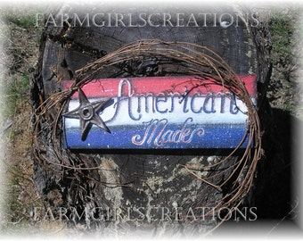 Patriotic American Made Reclaimed Wood sign