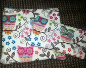 Eco-Friendly Insulated ReUsable Sandwich and snack bags...Whimsical owls