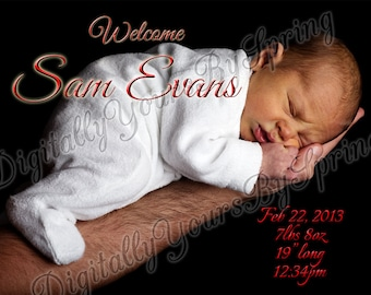 Printable Baby Birth Announcement - You Print DIGITAL FILE