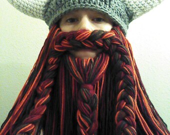 Red Beard. Viking or Dwarven Hat With Horns and Beard.