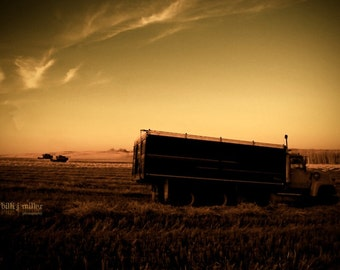 farm life photograph - fine art photo - grain truck - farm life - large landscape print - sunset photograph - large wall art - home decor