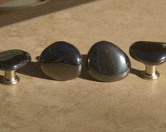 Hematite Stone Cabinet Knobs  - Set of 2