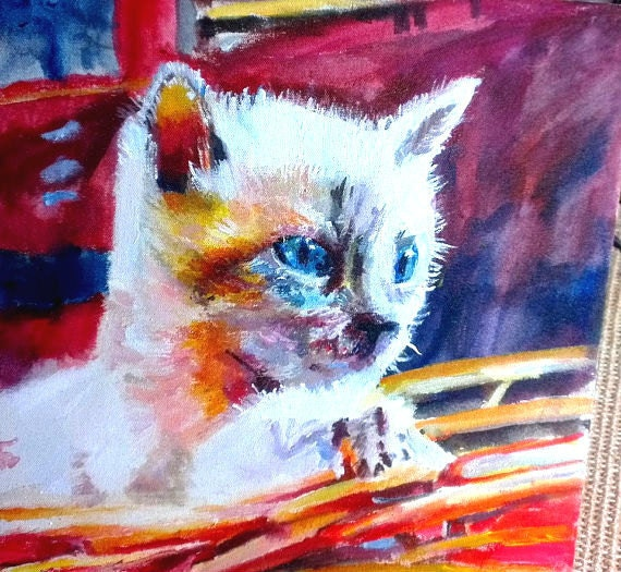 Custom pet painting animal art portrait pet abstract for Abstract animal paintings