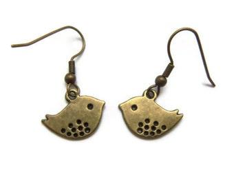 Bronze Sparrow Earrings -Handmade - Homemade Jewelry
