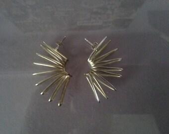Funky bronze spiral earrings