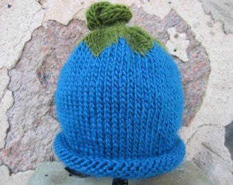 "Hand Knit ""Blueberry"" baby hat"