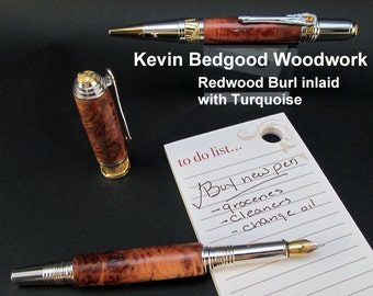 Pen set Custom, Redwood Burl inlaid with Turquoise, Fine Writing Instrument, wood pen