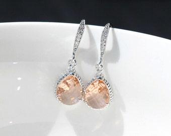 silver Champagne earring ,  drop earring , peach earrings  , bridemaids earrings