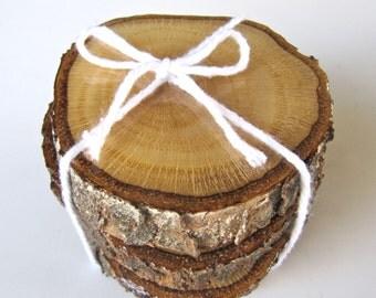 Wood Coasters, Reclaimed Wood Coasters, Wood Coaster Set of 4 - Oak
