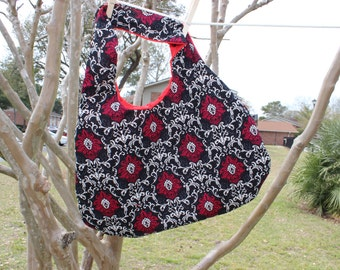 Reversible Shoulder Hobo Bag - Black, White & Red Damask with Red Lining
