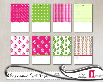DIY Printable Gift Tags, Labels - 300dpi, jpg - Peppermint, Instant Download